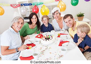 groot, gezin, vieren, jarig, samen