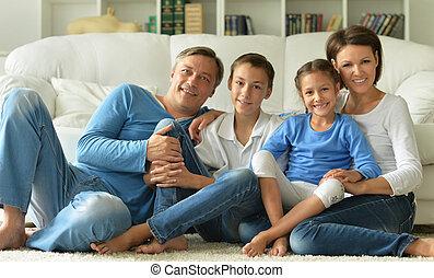 groot, gezin, vrolijke