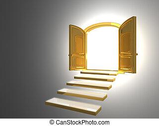 groot, gouden, deur, geopend, op wit