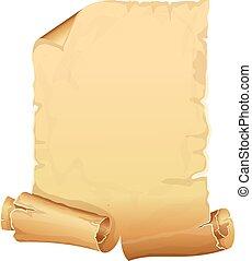 groot, gouden, perkament, boekrol