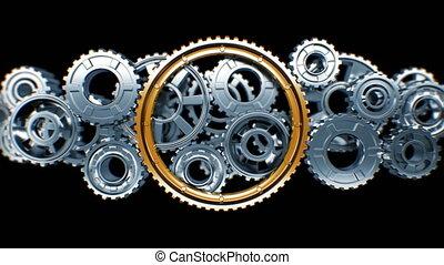 groot, gouden, tandwiel, draaien, in, staal, werkende ,...