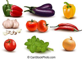 groot, groentes, groep, kleurrijke