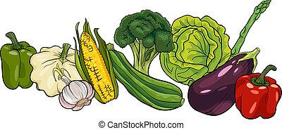 groot, groentes, groep, spotprent, illustratie