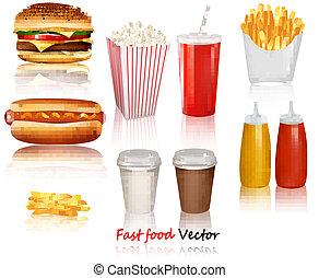 groot, groep, van, snel voedsel, producten