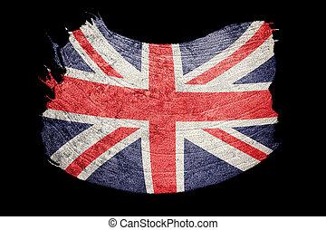 groot, grunge, unie, flag., groot-brittannië, vlag, borstel, dommekracht, texture., stroke.