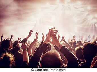 groot, het genieten van, groep, concert, mensen