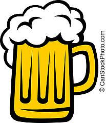 groot hoofd, bier, schuim, pint