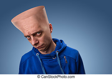 groot hoofd, vreemd, man