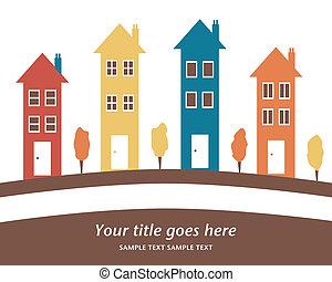 groot, houses., kleurrijke, roeien
