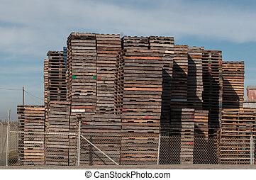 groot, houten, opperen, pallets