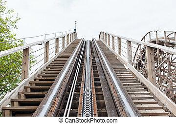 groot, houten, rollercoaster