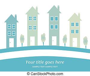 groot, huisen, roeien, design.
