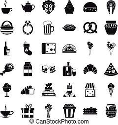 groot, iconen, set, stijl, eenvoudig, bounty