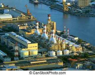 groot, industriebedrijven, complex