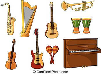 groot, instrumenten, set, gevarieerd, muzikalisch