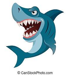groot, isolated., groot, boos, haai, illustratie, hongerige , vector, wiith, teeth, witte , spotprent