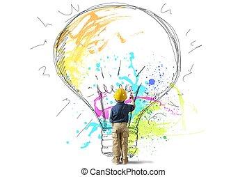 groot, jonge, idee