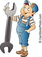 groot, jongen, moersleutel, illustratie