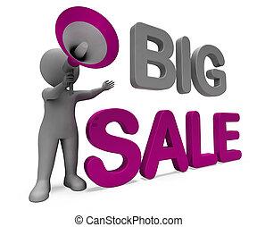 groot, karakter, verkoop, reclame, korting, spaarduiten, sparen, of, optredens