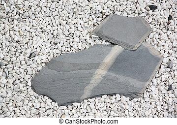 groot, kleine, steen, rock., plakken