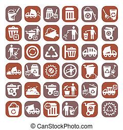 groot, kleur, restafval, iconen