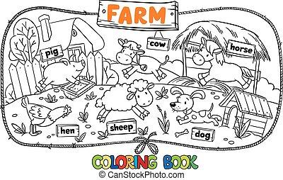 groot, kleurend boek, met, boerderijdieren
