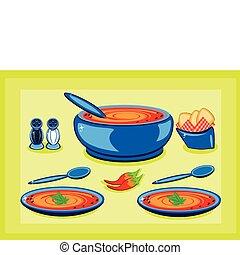 groot, kokende pot, en, een, schaaltje, met, soep