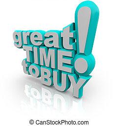 groot, kopen, -, aanmoedigen, verkoop, woorden, tijd