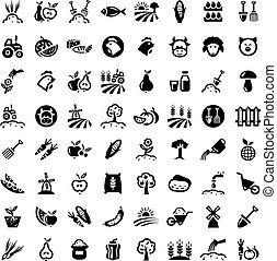 groot, landbouw, iconen, set