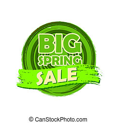 groot, lente, verkoop, ronde, getrokken, etiket