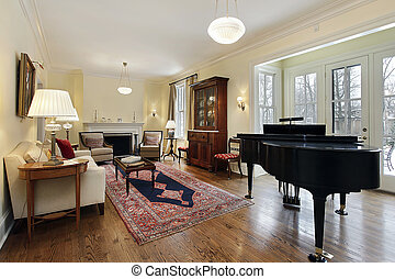 groot, levend, piano, kamer