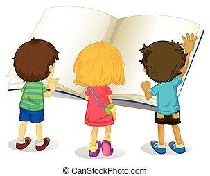 groot, lezende , kinderen, boek