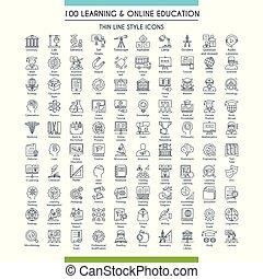 groot, lijn, opleiding, set, iconen