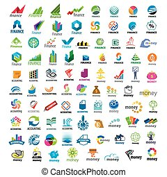groot, logos, set, financiën, vector