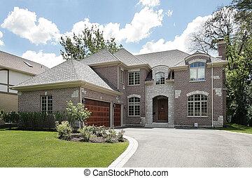 groot, luxe, baksteen, thuis