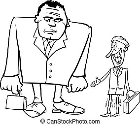 groot, mager, spotprent, zakenlieden