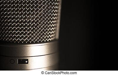 groot, microfoon, diafragma, opnamestudio, professioneel, stem