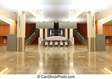 groot, moderne, zaal, met, graniet, vloer, kolommen, en,...