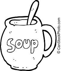 groot, mok, spotprent, soep