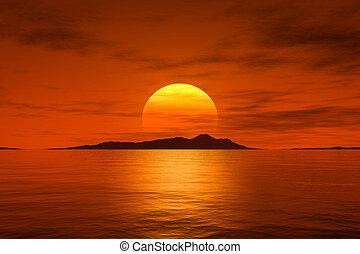 groot, mooi, fantasie, ondergaande zon , op, de, oceaan