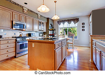 groot, mooi, witte , keuken, met, parket, en, groene, walls.