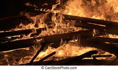 groot, nacht, vuur, burning, raad