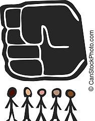 groot, op, fist, mensen