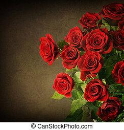groot, ouderwetse , bouquet., rozen, gestyleerd, rood