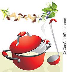 groot, pan, met, champignonsoep