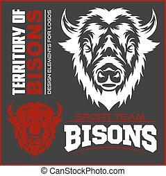groot, pictogram, buffel, hoofd, symbool., etiket, dier, logo, meldingsbord, badge, design.