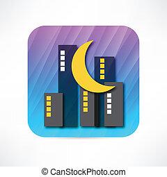 groot, pictogram, stad, nacht