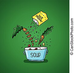 groot, pot, kruiden, groentes, soep