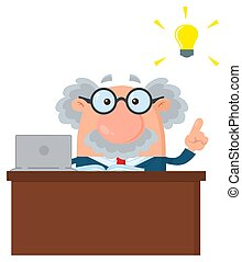 groot, professor, karakter, idee, of, achter, wetenschapper, bureau, spotprent