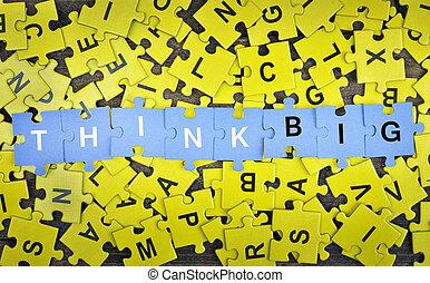 groot, raadsel, woord, denken
